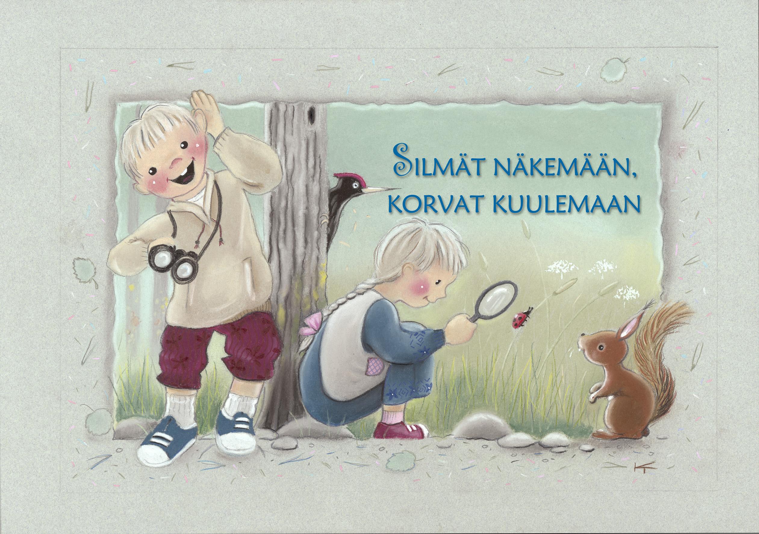 Lapset ihmettelevät luontoa eri aisteilla.