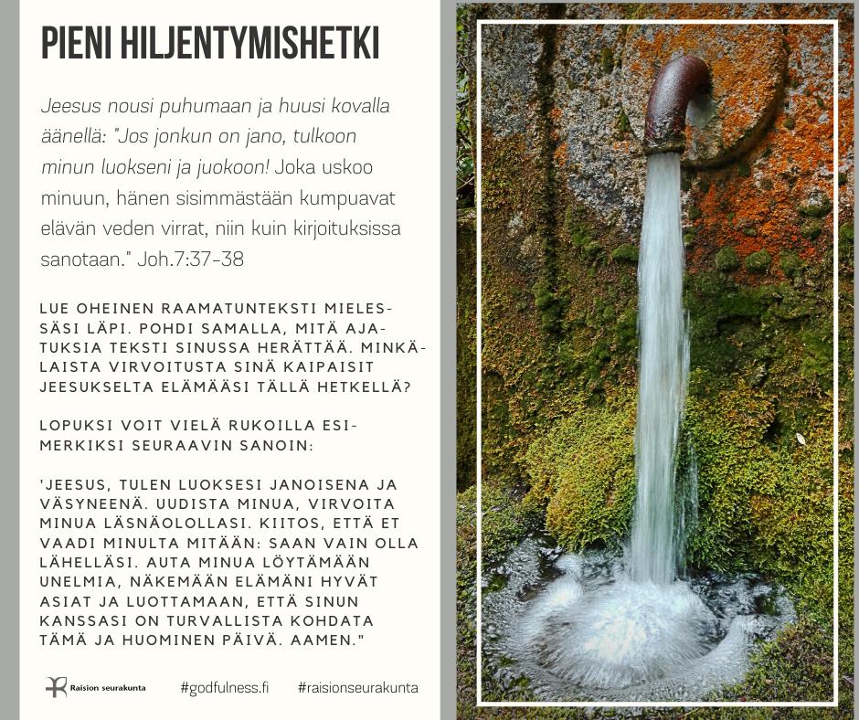Ruskeasta vesisäiliön hanasta virtaa puhdasta vettä.